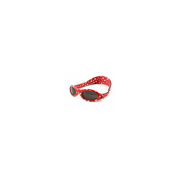 Baby Banz solbrille med justerbar rem rød med prikker