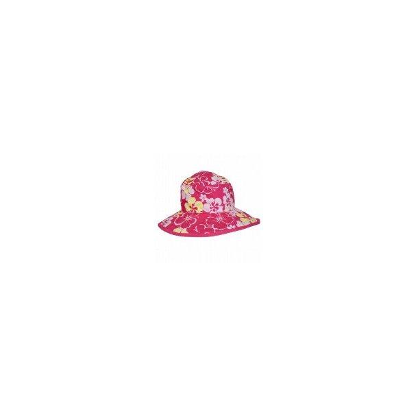 Baby banz vendbar solhat pink m/blomster upf50+