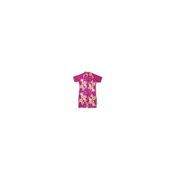 Baby Banz uv-heldrakt rosa med blomster upf 50+