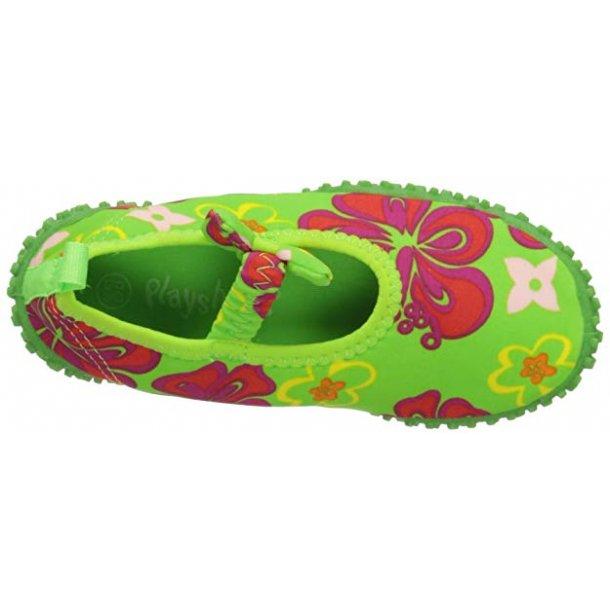 Badskor grön med blommor Playshoes UPF 50 +