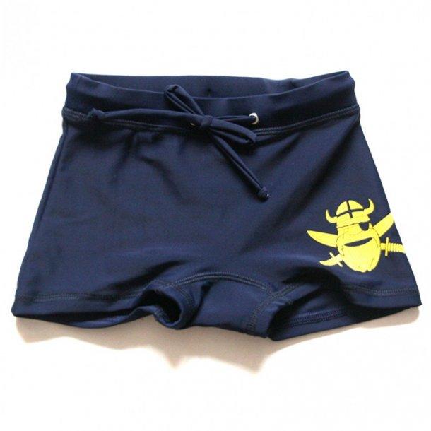 Badbyxor blå med gul viking-tryck UPF 50+
