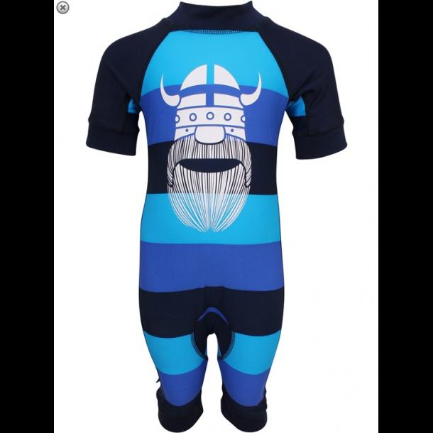 Danefæ uv-heldragt blå stribet med hvid viking UPF 50+