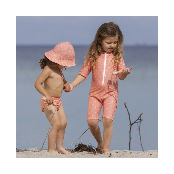 Petit Crabe - bodysuit, Floral peach