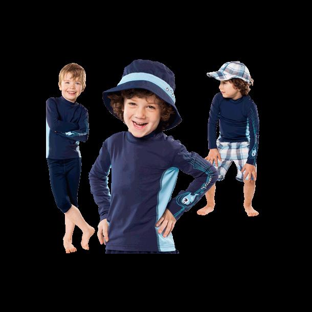 Langærmet bluse fra hyphen upf 80+ mørkeblå