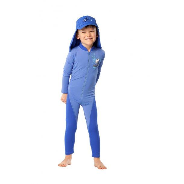 Uv heldrakt blå med lange ermer og ben hyphen upf 80+