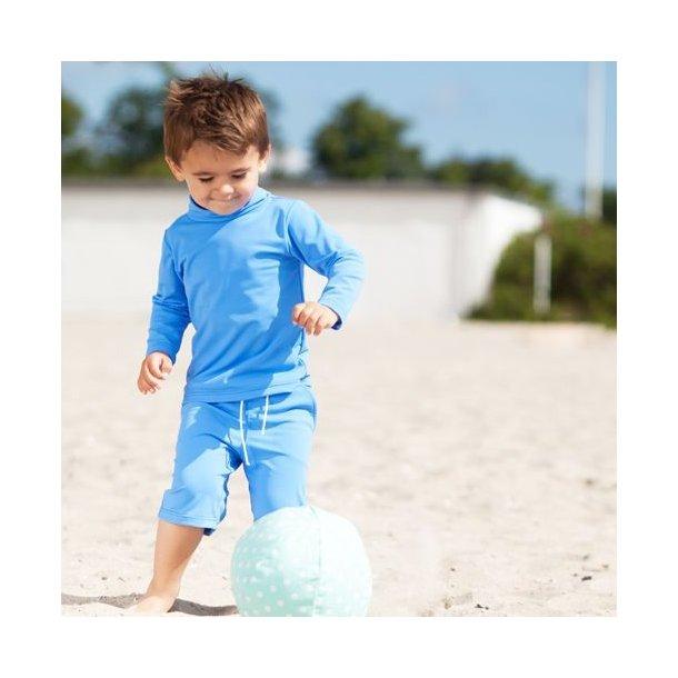 Havblå uv shorts lang