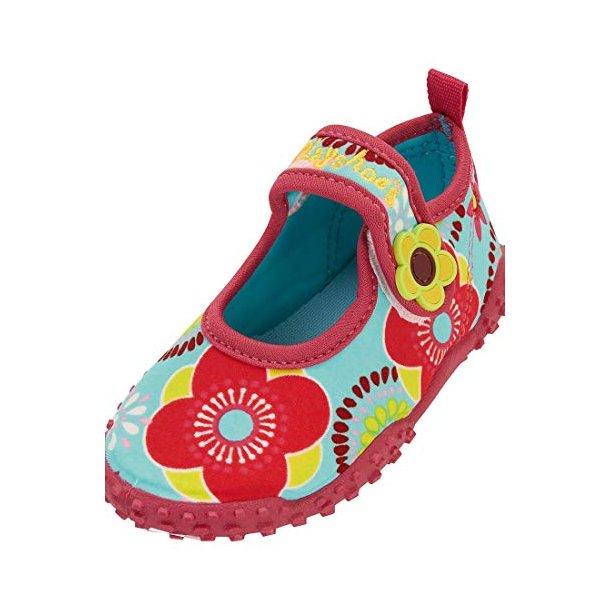 Playshoes badesko blå med blomster Playshoes UPF 50+