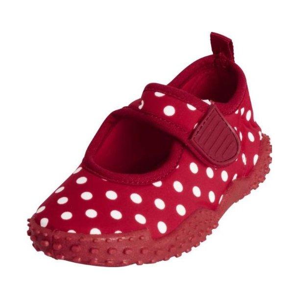 Playshoes badesko röd med prickar UPF 50+