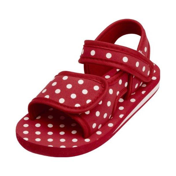 Badsandaler från Playshoes röd med prickar.
