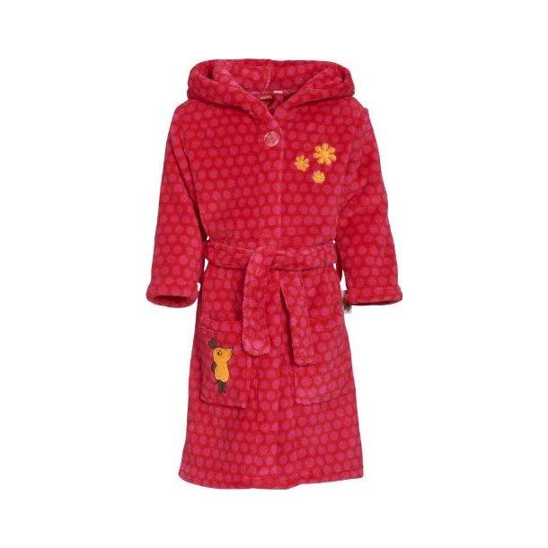 Fleece badekåbe rød med pink prikker