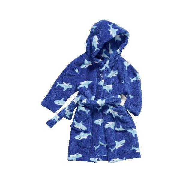 Fleece badekåbe blå med hajer