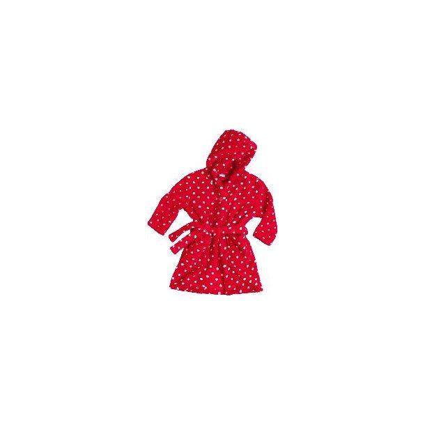 Fleece badekåbe rød med prikker