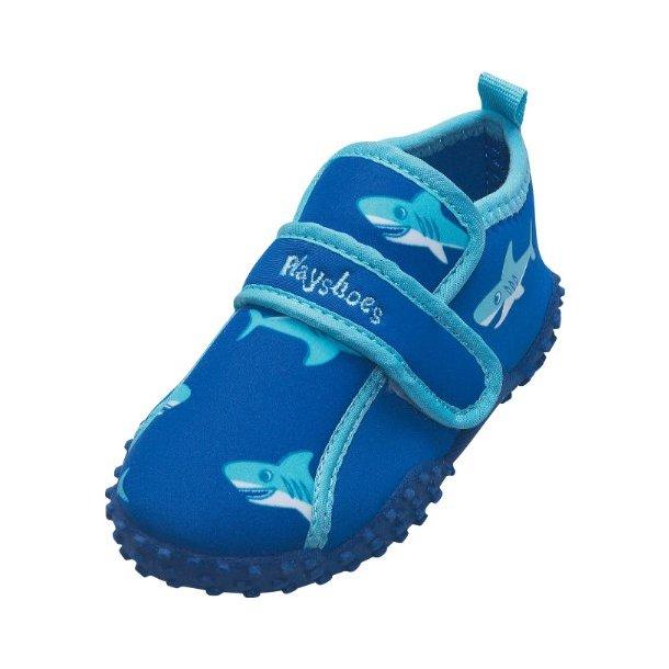 Playshoes badeskor blå med hajar