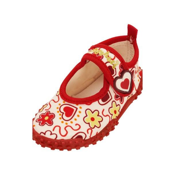 Badskor vit med hjärtan Playshoes UPF 50 +