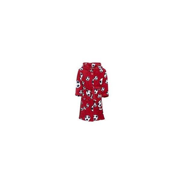 Fleece badrock röd med fotbollar