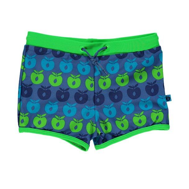 Badebukser Småfolk blå med epler UPF 50+