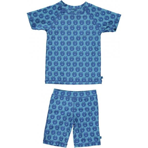 Småfolk uv t-shirt+shorts Apples blå UPF 50+
