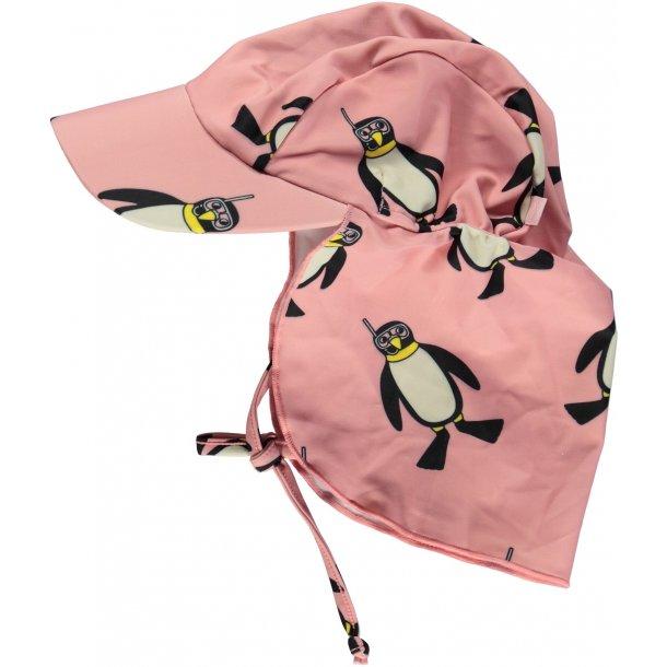 Solhat Småfolk rose penguins UPF50+