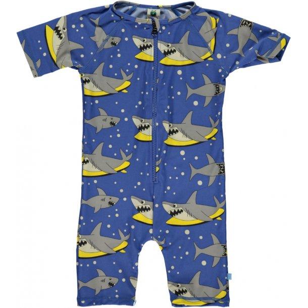 Småfolk uv badetøj blå haj UPF 50+
