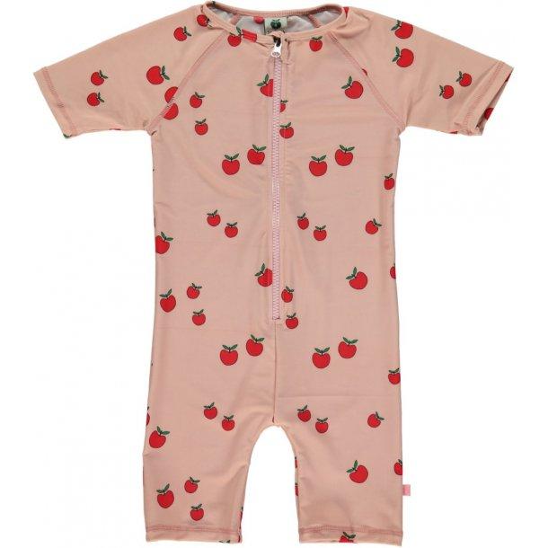 Småfolk uv badetøy silver pink røde epler UPF 50+