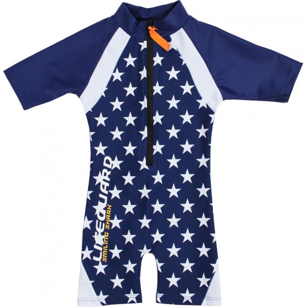 Sunsuit Smiling Shark navy/vit UPF 50+