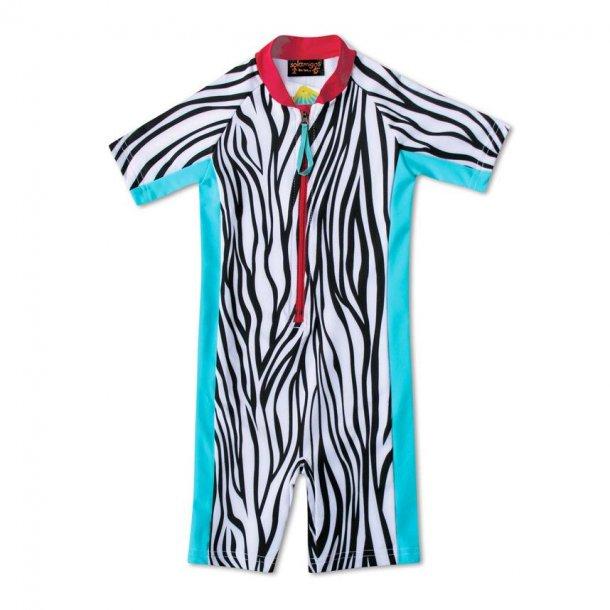 Uv heldragt Solamigos kortærmet zebra UPF 50+