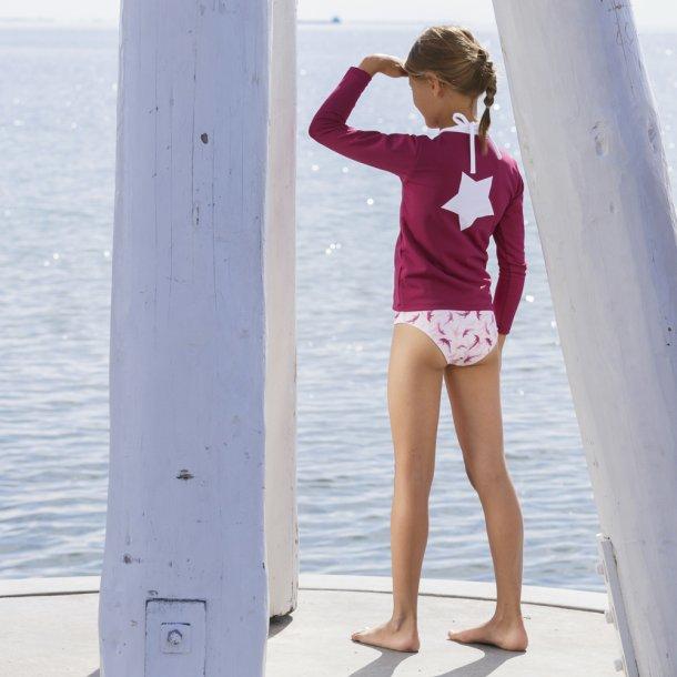 Bluse med borrelås cherry STAR applikation på baksidan - Petit Crabe