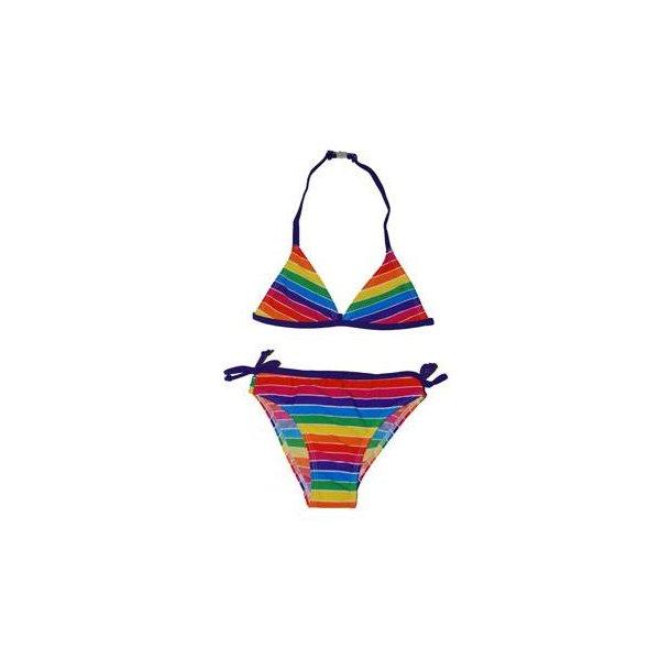 Stribet bikini med sløjfer i siderne