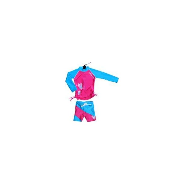 Rødrosa/turkis uv sett(shorts og langermet bluse) zunblock