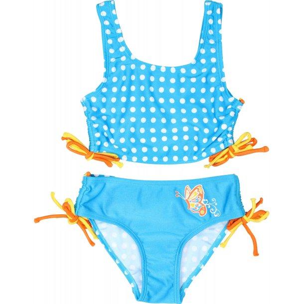 Turkis bikini med sommerfugle og hvide prikker zunblock