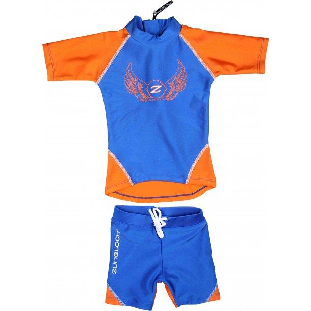 Uv badetøy (shorts og t-skjorte) blå/oransje zunblock upf 50+