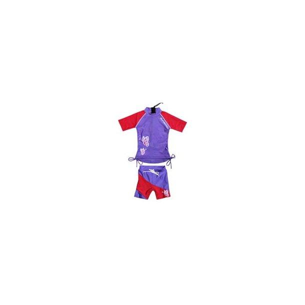 Lilla/rød uv sæt (shorts og t-shirt) zunblock