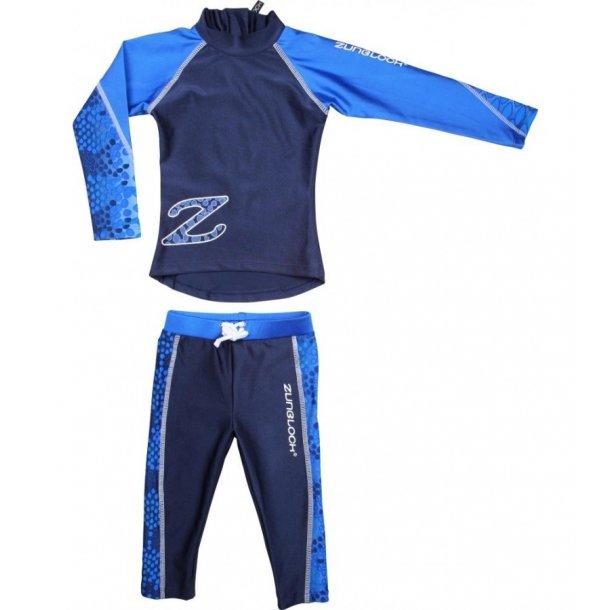 Langærmet bluse og leggings blå Zunblock UPF 50+