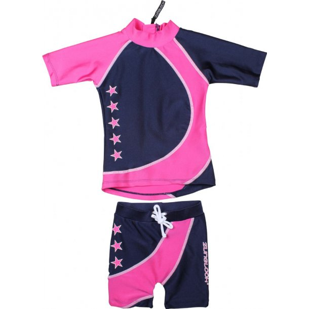 Shorts og t-shirt navy/pink zunblock upf 50+