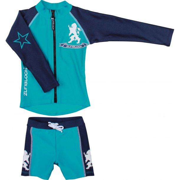 Grön/navy uv tröja med dragkedja + shorts Zunblock UPF 50+