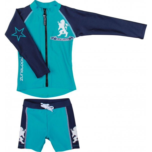 Grønn / marine uv bluse m/glidelås + shorts Zunblock UPF 50+