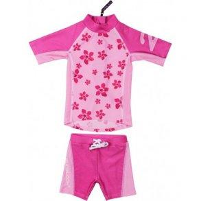 Shorts og t-shirt rosa med blommor Zunblock UPF 50+ d29883f13d2c3